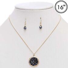 """16"""" Adjustable Round Hematite Black Glass Druzy Necklace"""