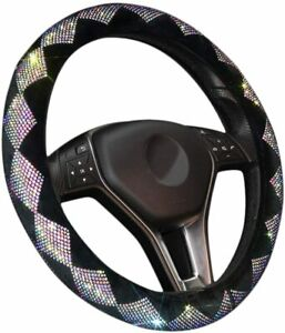 Zone Tech Dimaond Bling Velvet Steering Wheel Cover with PU Leather Backing