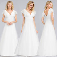UK Ever-Pretty Ruffle Sleeve V-Neck White Evening Party Dress Wedding Prom Gowns