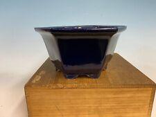 Semi Cascade Dark Blue Glazed Tokoname Bonsai Tree Pot By Koyo 8 3/4 by 4 1/4�