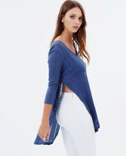 NWT NEW Free People Anthropologie Denim BLUE Astoria Hacci Tunic Top Shirt Sz XS