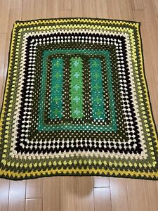 Granny Vintage  Square Crochet Afghan Throw Blanket 40 X 44 Green Brown Yellow
