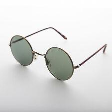 John Lennon Vintage Sunglass Bronze Frame Glass Lens Tube Temple  -Trinity
