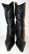 Unknown label black mid calf boots women Eur 40 US-Aus 9 UK 7 USED from Italy