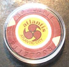 Atlantis Hotel CASINO ROULETTE CHIP -1984 - ATLANTIC CITY, New Jersey -Brown - A