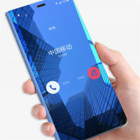 For Samsung Galaxy S9 Note 9 Smart View Mirror Leather Flip Stand Case Cover