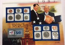 1987 MINT SET ~POSTMARKED STAMP PANEL ~ REAGAN GORBACHEV