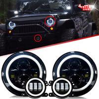 07-17 For Jeep Wrangler JK Halo LED Headlight + Halo LED DRL Fog Light Combo Kit
