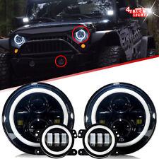 DOT 07-17 Jeep Wrangler JK Halo LED Headlight + Halo LED DRL Fog Light Combo Kit