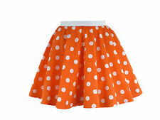 Childs Rock and Roll 50s Fancy Dress Grease Costume Polka Dot Skirt & Scarf Orange With White Spot L