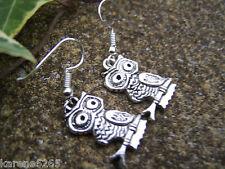 OWL EARRINGS. TIBETAN SILVER OWL EARRINGS.OWL LOVER'S GIFT.HANDMADE IN UK.