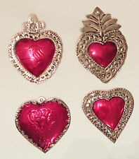 Unique Mexican Tin Hearts Set Of 4 Wall Hanging Ornaments Hand Punched Metal 29