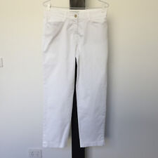 'BRAX' EC SIZE '10' WHITE COTTON LONG STRAIGHT LEG JEANS, FRONT & BAKC POCKETS