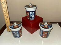 Antique Imari Porcelain Cups with Lids - Set of 3