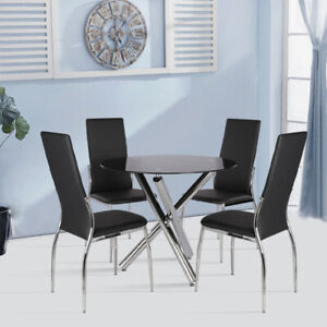 Tempered Glass Dining Table Or Chairs 2/6 Seaters Room Kitchen Furniture Black