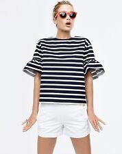 J.CREW WOMENS Ruffle Bell Sleeve Striped Statement Top XL 14 16 $78 Black F0270