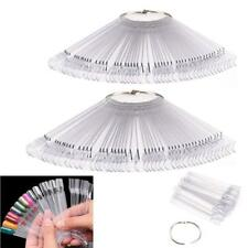 100 Nail Art Tips Pop Stick Display Fan Polish Practice Starter Ring Clear Tip