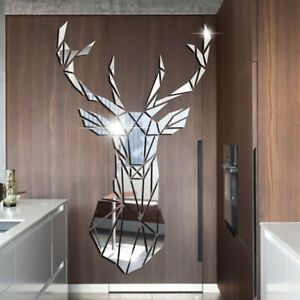 3D Deer Head Mirror Wall Sticker DIY Acrylic Mirror Stickers Mural Living, Bedro