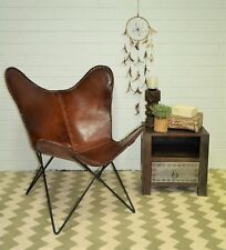 Statement Vintage Brown Aged Leather Butterfly Chair Retro Metal Industrial Seat