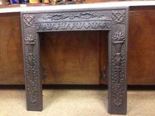 Antique Cast Iron Fireplace Surround Torch Motif High Relief *Sale*