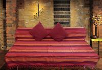 XXL rot orange gewebte Baumwolle Doppelbett Sofa Tagesdecke Überwurf gestreift