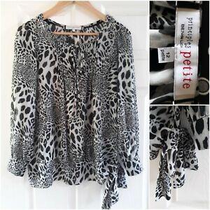 Principles Ben De Lisi Grey Animal Print Blouse Size 12 Petite Sheer Long Sleeve