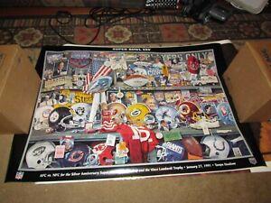 Super Bowl 25 XXV Helmet Collage Vince Lombardi Pinnacle Poster
