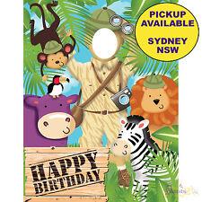JUNGLE SAFARI ANIMALS PARTY SUPPLIES HAPPY BIRTHDAY PLASTIC PHOTO PROP BANNER