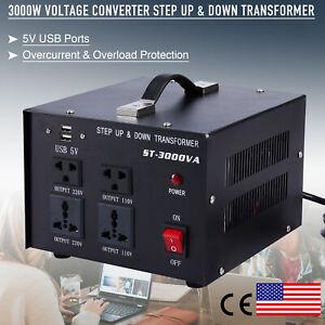 3000W Step Up Transformer 110V to 220V Step Down Transformer 220V to 110V w USB