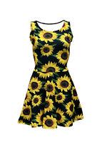 Sunflower Floral Vintage 50's 60's Printed Rockabilly Fit & Flared Skater Dress