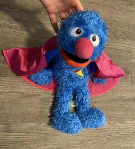"Hasbro Sesame Street SUPER GROVER Plush Toy 18"" Blue Monster"