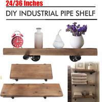 "24/35"" Industrial Wood Floating Shelf Organizer Display Rack Wall Mounted Decor"