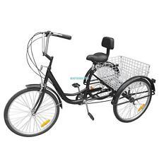 """Black 3-Wheel 6-Speed Adult 24"""" Tricycle  Bike Bicycle Trike Cruise W/ Basket"""