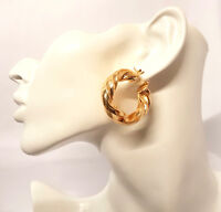 Thick 35mm Twisted Gold Plated Hoop Earrings Round Creole Chic Hoops