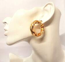Women's Thick 35mm Twisted Gold Plated Hoop Earrings Round Creole Chic Hoops