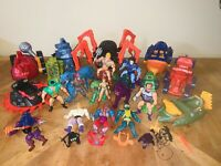 VTG MASTERS OF THE UNIVERSE MIXED LOT SOFT HEAD HE-MAN SKELETOR BATTLE CAT ACCS