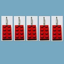5 Lot Lego 3020 Red brick Plate Zipper Pull Charm Book Bag School Bag Backpack