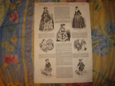 1852 ANTIQUE FASHION COSTUME PARIS FRANCE PRINT SuperbN