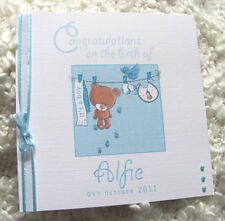 'CONGRATULATIONS ON THE BIRTH OF' HANDMADE PERSONALISED  NEW BABY BOY CARD