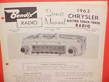 1963 CHRYSLER NEWPORT 300 J CONVERTIBLE NEW YORKER BENDIX RADIO SERVICE MANUAL