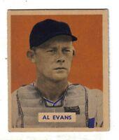 1949 Bowman baseball card #132 Al Evans, Washington Senators EX+