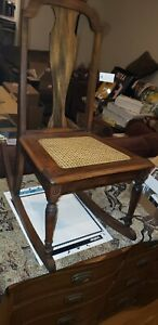Antique Rocking Chair Wood with Wicker Seat Rocker Very Solid Vintage Refinished