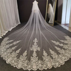 5 metres Bridal Veils 2 Layers Tulle With Comb Lace Edge Cathedral Wedding Veils