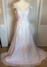 Size 10 Cap Sleeve Lace Wedding Dress White Long Train Removable Bow Pin Back