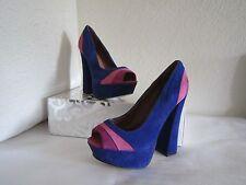 Steve Madden *GAAYLE* Open Toe Platform Pump Heel ~Blue/Multi Size 7.5M