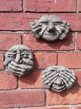 STONE GARDEN SET OF 3 SEE NO, HEAR NO EVIL GARGOYLE GREMLIN FACE WALL PLAQUES