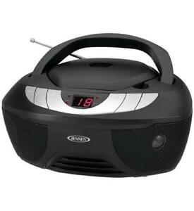 Jensen CD Player w/ AM/FM Radio Boombox with LED display - Black  JEN-CD-475