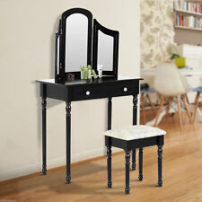 Wood Dressing Vanity Makeup Table with Stool Tri-Mirror 2 Drawers