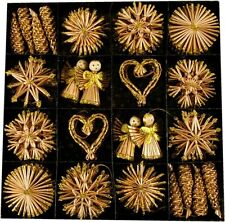 62x Strohsterne  Stroh Sterne mit Glitzerapplikationen Weihnachtssterne Deko