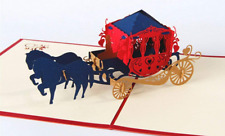 New Listing3D Pop Up Horse Drawn Carriage Gift Greeting Card - weddings and other occasions